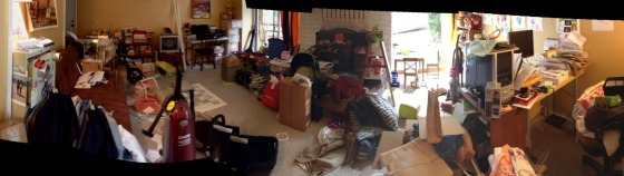 My mom's room at it's worst- transformed into a sorting station.